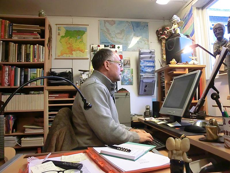 Peter aan het werk